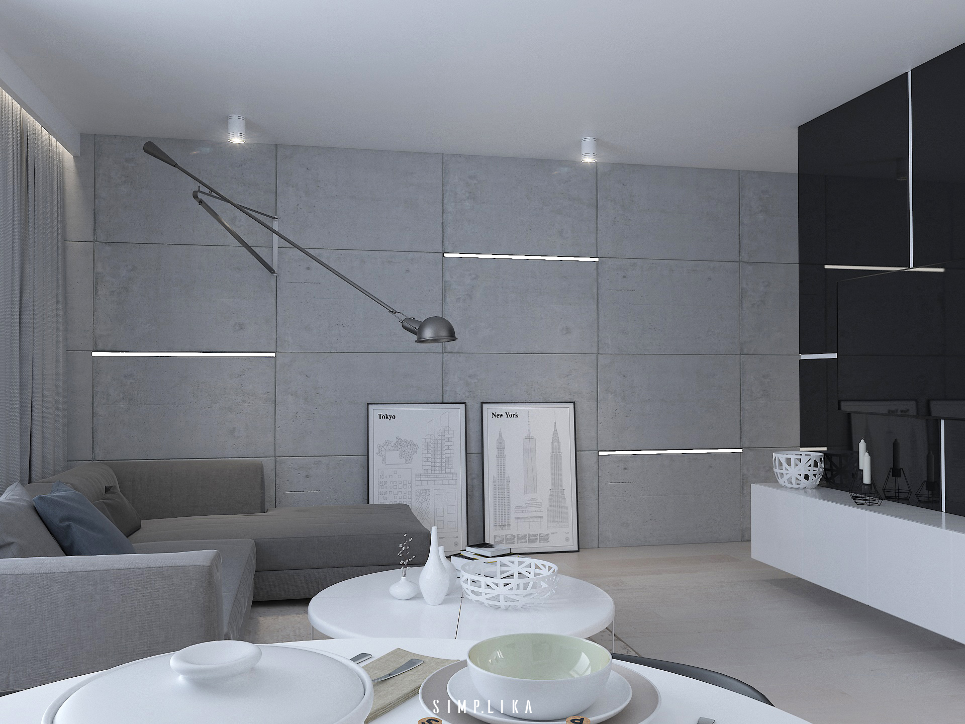 Salon projektowanie wn trz warszawa wilan w architekt for Beton salon